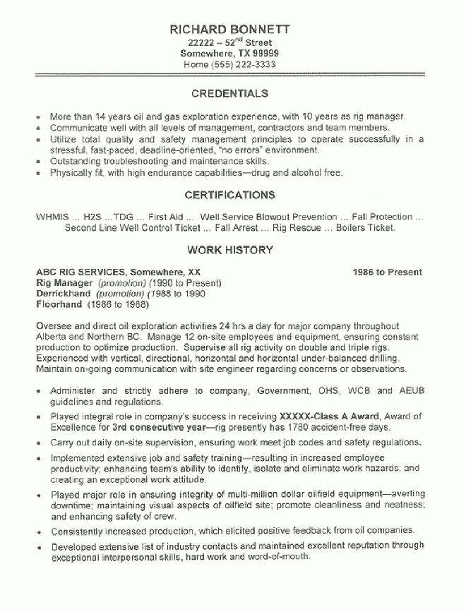 Oil Rig Manager Resume Sample - All Trades Resume Writing Service