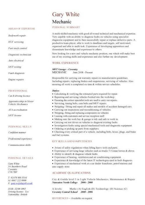 Awesome Collection of Mechanic Resume Sample With Additional Free ...