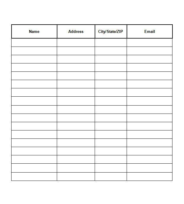 Employee sign in sheet template 5 free pdf documents download – Sign Up Sheet Template Word