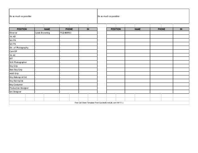 Call Sheet 2