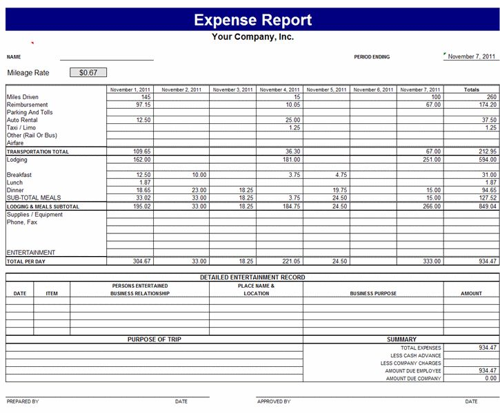 Download Expense report