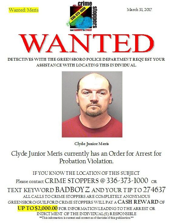 Attempt to Locate Wanted Person: Clyde Meris - Greensboro/Guilford ...