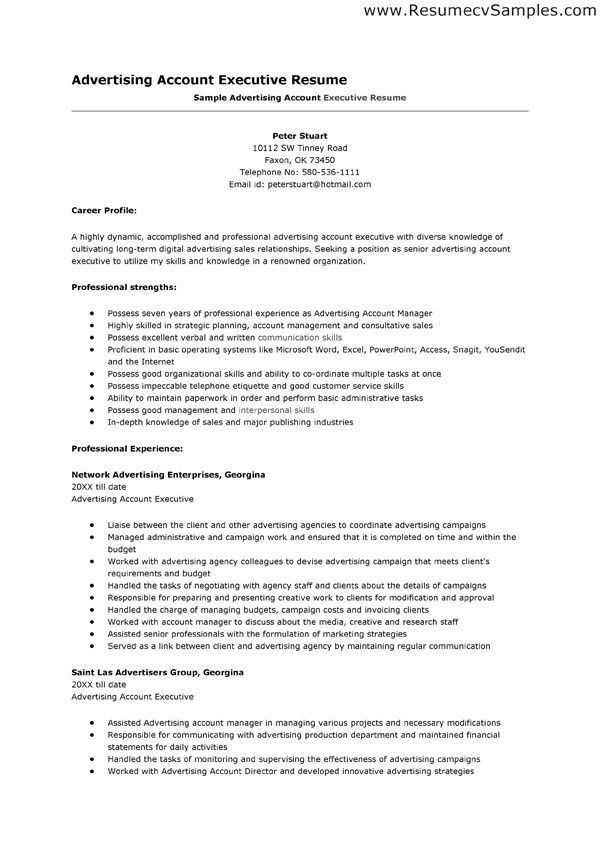 Interesting Advertising Account Executive Resume featuring Network ...