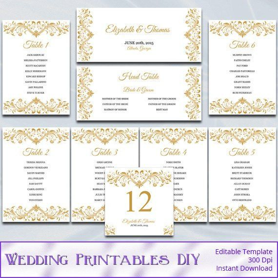 Gold Wedding Seating Chart Template Diy Elegant Reception