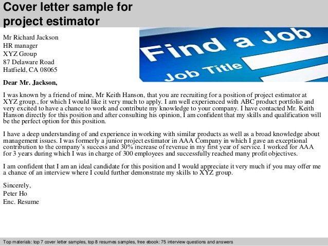 Estimating assistant cover letter