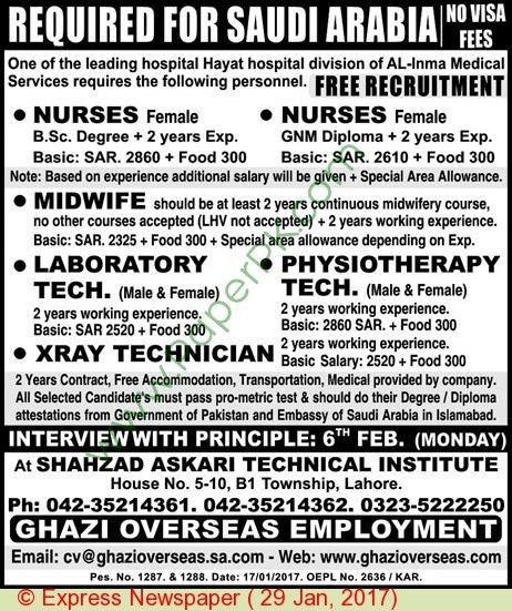Nurses Midwife Laboratory Technician & X Ray Technician Jobs In ...