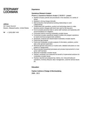 Operations Research Analyst Resume Sample | Velvet Jobs