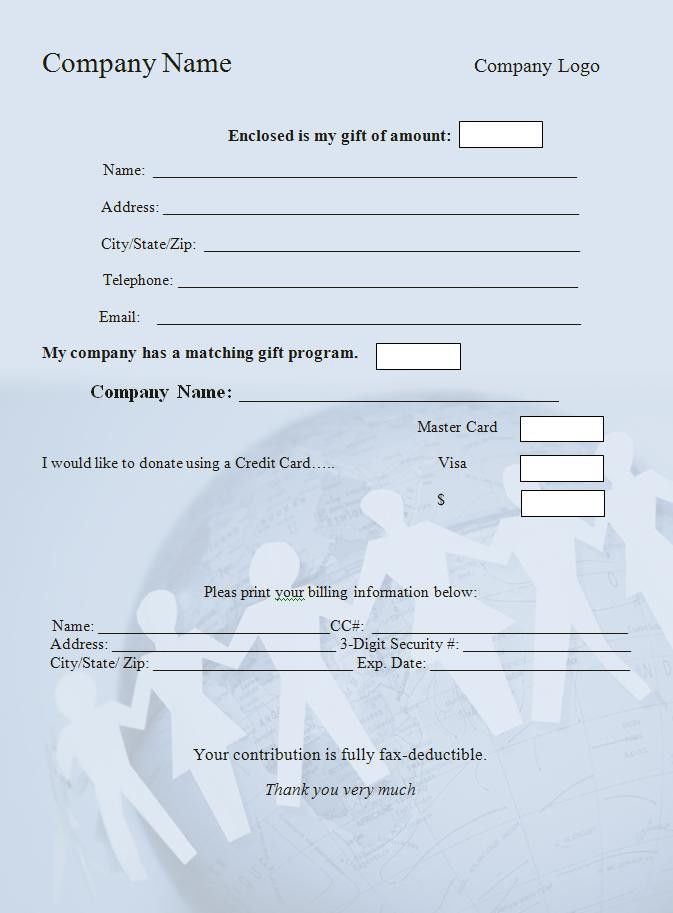 Donation Form Template - Word Excel Formats