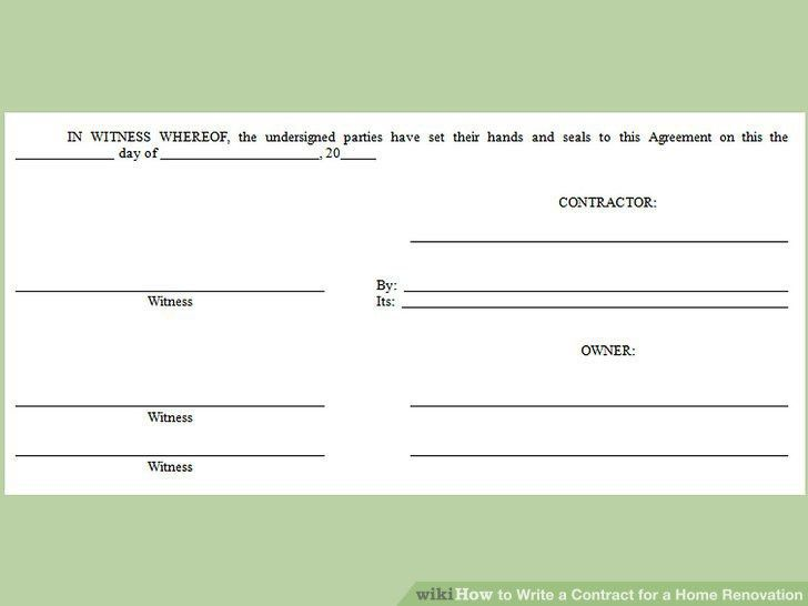 How to Write a Contract for a Home Renovation (with Pictures)