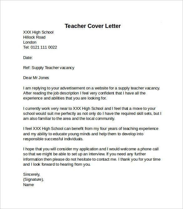 Lofty Design Ideas Teacher Cover Letter Examples 15 13 Best Images ...