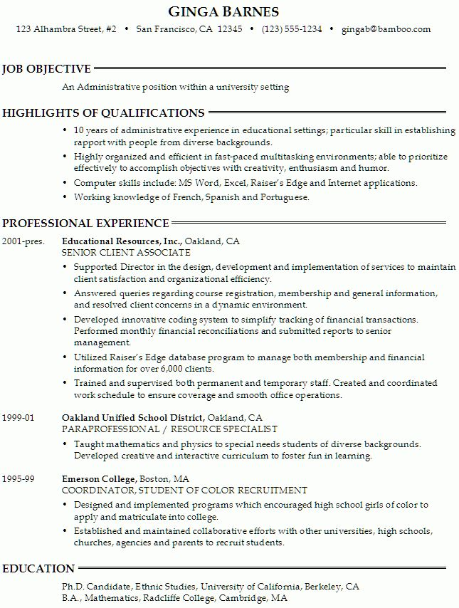 Resume: Administrative Position at a University - Susan Ireland ...