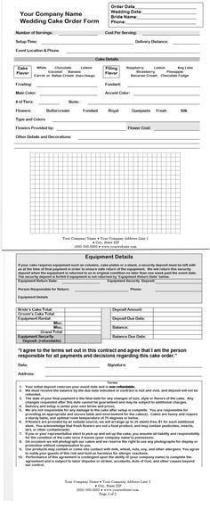 cake order form template free download - Google Search | Projects ...