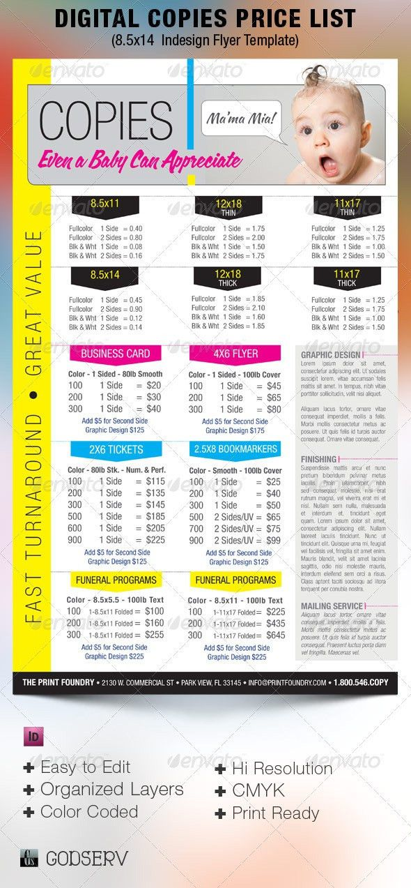 Digital Printing Price List Flyer Template - $6.00 | Design and ...