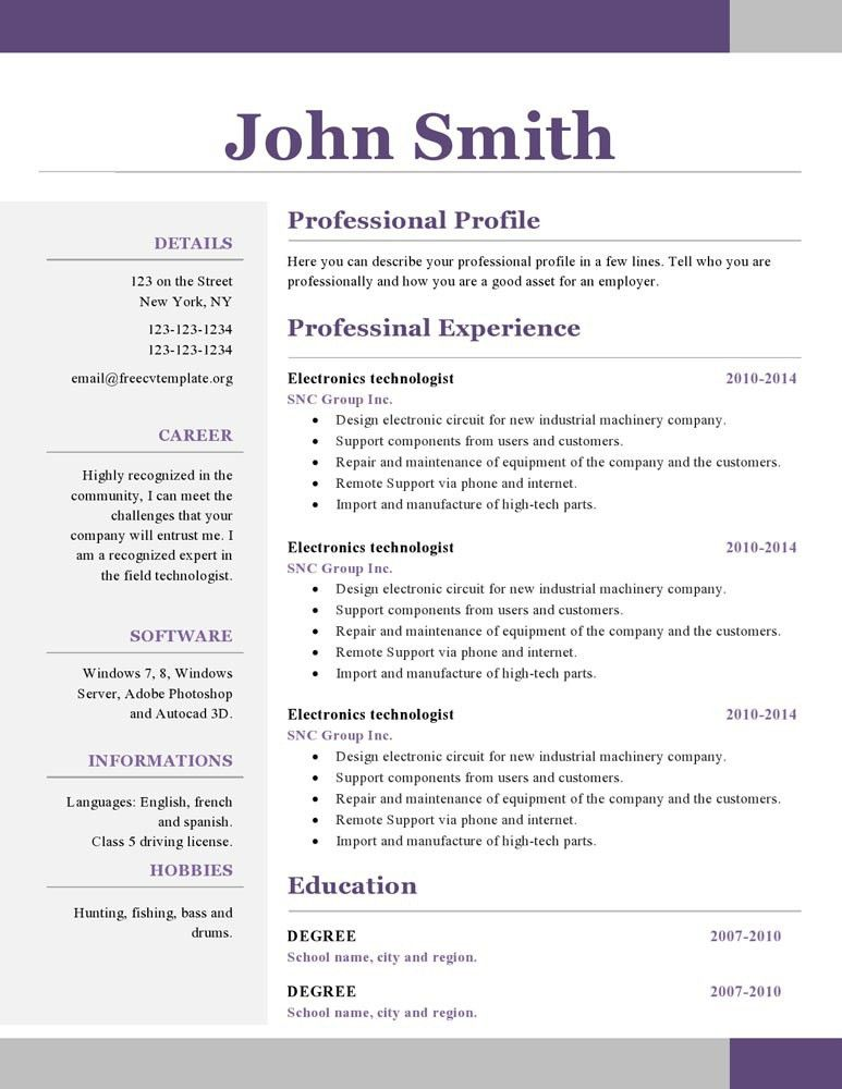great looking resume templates
