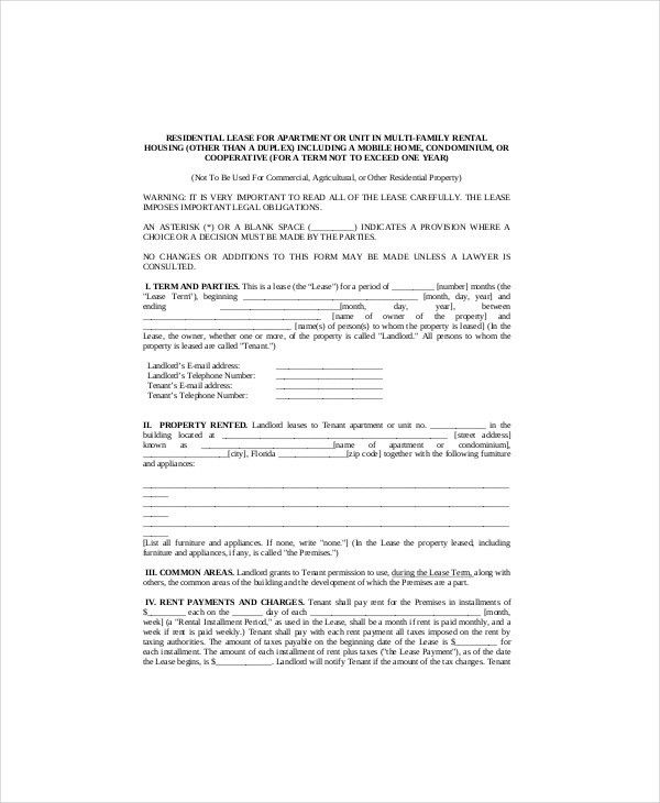 free rental lease template