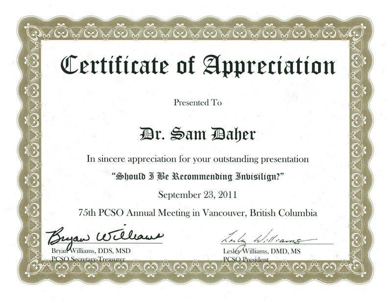 Appreciation certificate | Certificate Templates