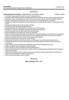 Public Relations Vice President Resume Sample | Velvet Jobs