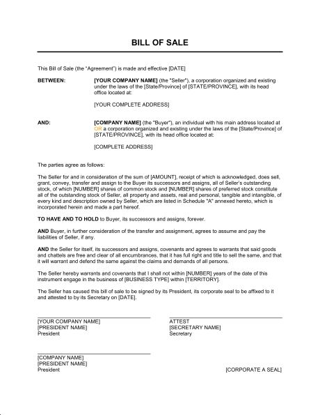 Bill of Sale for Corporations - Template & Sample Form | Biztree.com