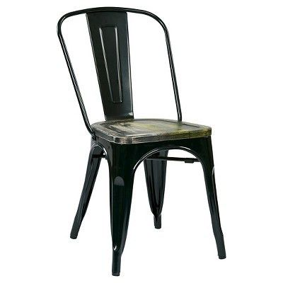 Osp Designs Bristow Distressed Wood Seat Chair Metal (Set of 2 ...