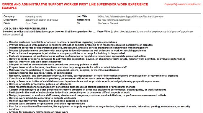 Seller Support Associate CV Work Experience Samples