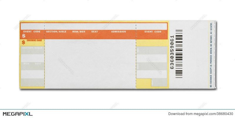 Blank Concert Ticket Stock Photo 38680430 - Megapixl