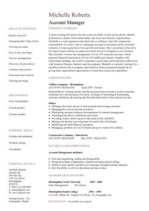 Account Manager Job Description for Resume | RecentResumes.com