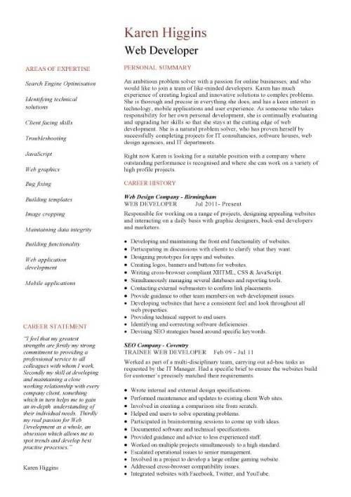 Website Developer Resume. resume makeover junior web developer ...