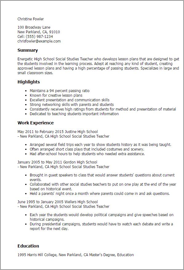 Professional High School Social Studies Teacher Templates to ...
