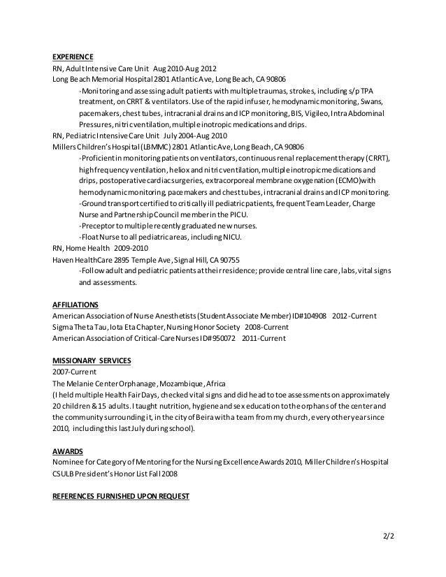 Crna Resume - Resume Templates