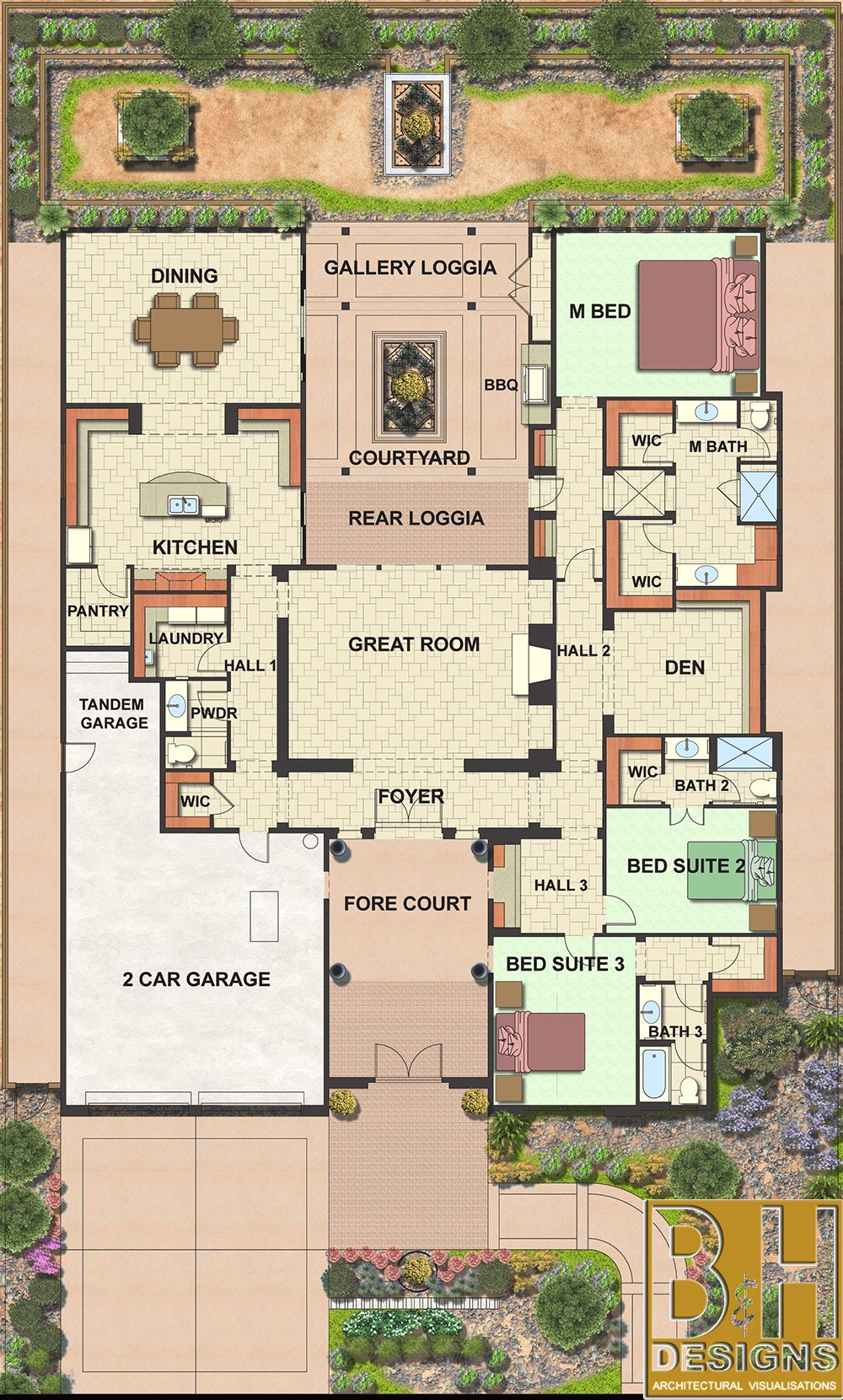 100 Multi Family House Plans With Courtyard 100