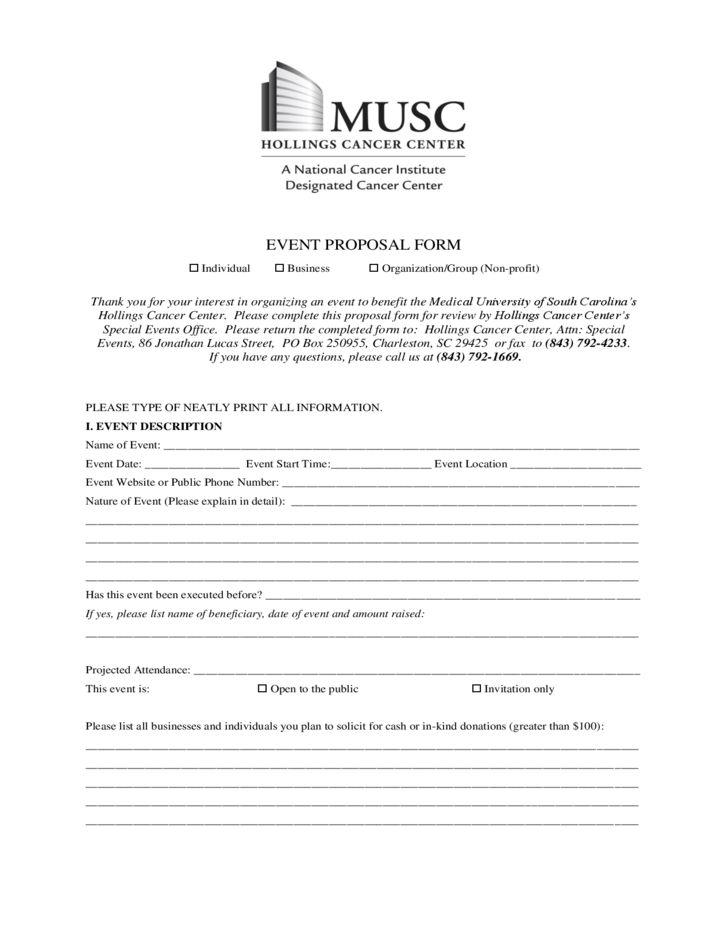 Event Proposal Sample Form Free Download