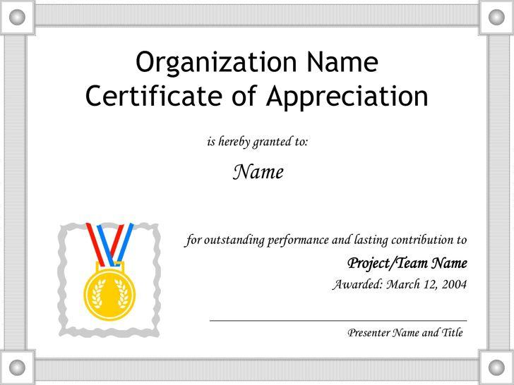 Certificate of Appreciation Template - Template Free Download ...