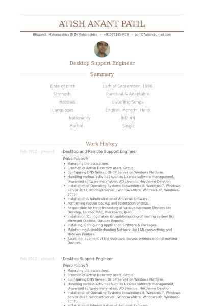 Desktop Support Engineer Resume samples - VisualCV resume samples ...