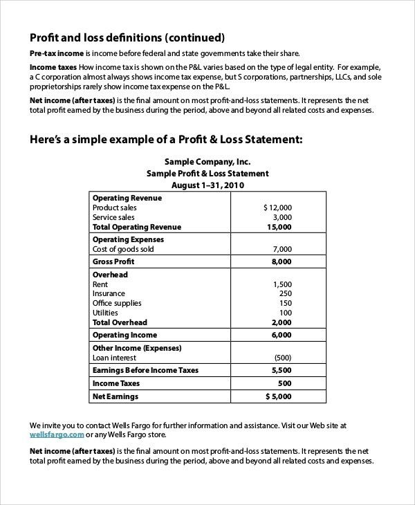 Sample Profit Loss Statement - 8+ Examples in PDF, Excel