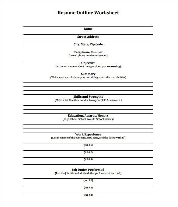 Resume Outline Template – 10+ Free Word, Excel, PDF Format ...