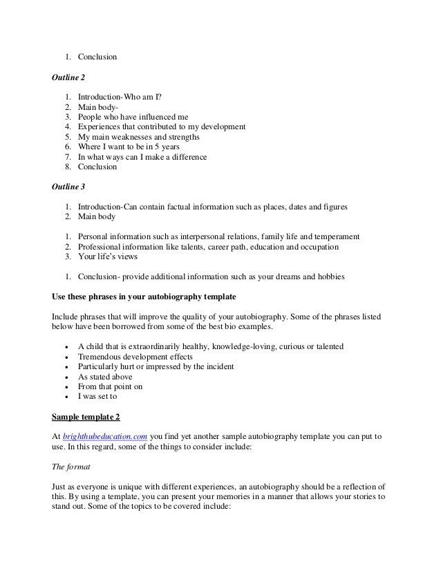 Biographical essay outline template