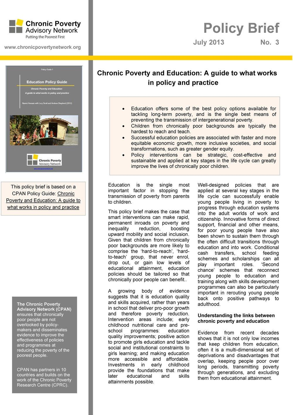 Education Policy Brief: A guide to what works in policy and ...