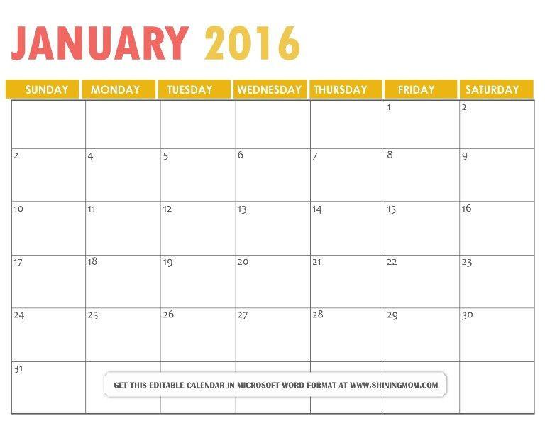 July 2016 calendar editable