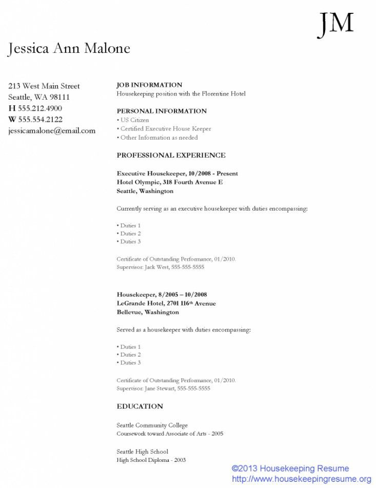 Housekeeper Resume Samples Free | Resume Template Free