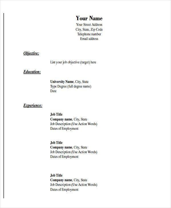 Download Basic Resume Template | haadyaooverbayresort.com