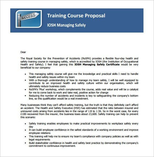 sample training proposal template