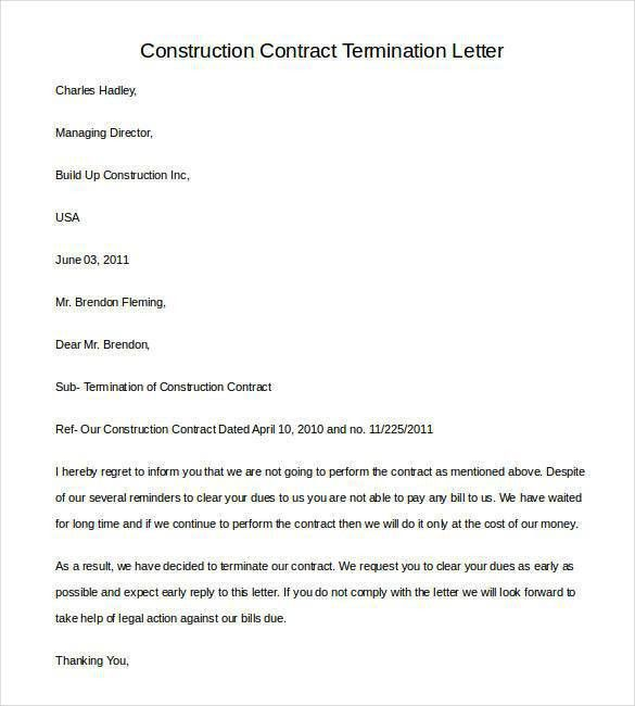 sample letter of cancellation of contract