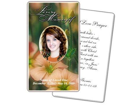 Funeral Prayer Card Template with a Floral theme | Prayer Cards ...