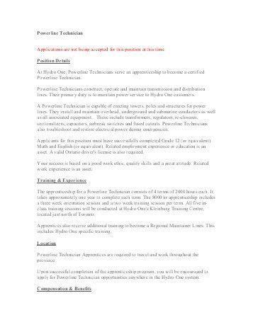 Sample Resume - Application for Powerline Technician