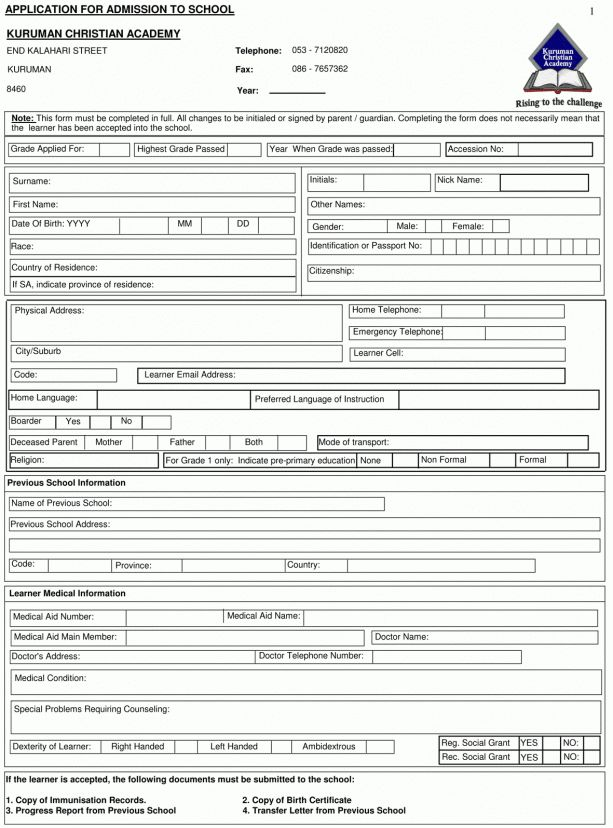 Academy Registration Form Templates - Find Word Templates