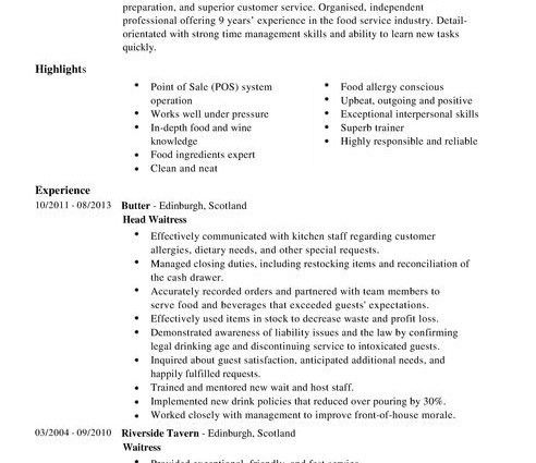 resume Waitress CV Template summary highlight - Writing Resume ...