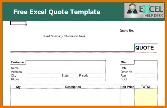 quotes templates excel - Template