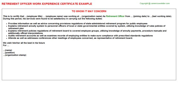 Retirement Officer Work Experience Certificate