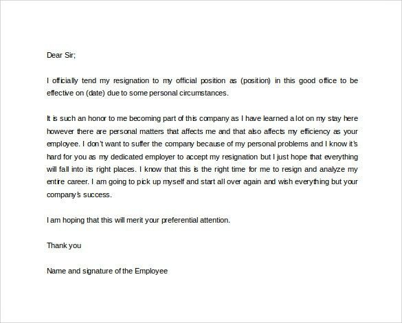 change jobcom the new job resignation simple letter template is a ...