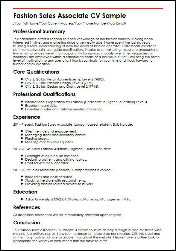 Fashion Sales Associate CV Sample | MyperfectCV